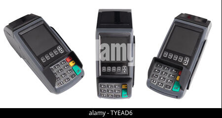 point of sale, credit card reader payment terminal. set of credit card swipe machine from 3 side  isolated on white background with clipping path - Stock Photo