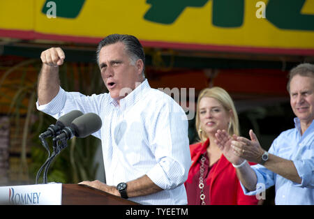 Presumptive Republican presidential nominee Mitt Romney delivers remarks to supporters  during the 'Romney Plan for a Stronger Middle Class' bus tour, at El Palacio De Los Jugos,  Miami, Florida on August 13, 2012. Romney's bus tour is traveling through four battleground  states ( Virginia, North Carolina, Florida, & Ohio), holding fundraisers in advance of the November 4 general election.  UPI/Gary I Rothstein - Stock Photo