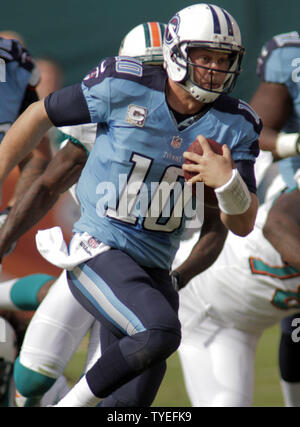 Tennessee Titans quarter back Jake Locker (10) runs against the Miami Dolphins during first half action at Sun Life Stadium November 11, 2012  in Miami, Florida. The  Titans beat the Miami Dolphins37-3                 UPI/Susan Knowles - Stock Photo
