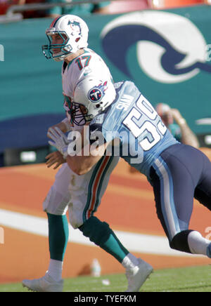 Miami Dolphins  quarterback Ryan Tannenhill is sacked during fourth quarter action against the Tennessee Titans at Sun Life Stadium November 11, 2012  in Miami, Florida. The Tennessee Titans beat the Miami Dolphins 37-3.             UPI/Susan Knowles - Stock Photo