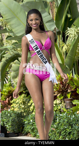 Miss Universe contestant Ziphozakhe Zokufa from South Africa models a selection from the Yamamay swimsuit collection during the swimsuit runway event at Trump National Doral pool in Miami, Fl orida on January 14, 2015. The 63rd. Miss Universe Pageant will be held in Miami, Florida, January 25, 2015. Photo by Gary I Rothstein/UPI