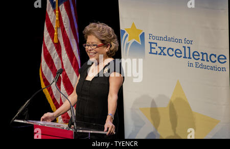 Former Florida Governor Jeb Bush's wife Columba delivers remarks at the honors luncheon at the 2015 Arts for Life! scholarship winners in the Adrienne Arsht Center for the Performing Arts of Miami-Dade County in Miami, Florida,  June 5, 2015,  Governor Bush is scheduled to announce his candidacy for the  President of the United States in Miami, Florida on June 15, 2015.  Photo by Gary I Rothstein/UPI. .. - Stock Photo