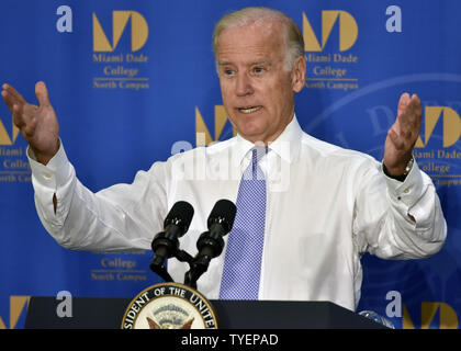 United States Vice President Joe Biden delivered remarks on the importance of helping Americans go to college during a presentation  at the Science Center at Miami Dade College in Miami, Florida, September 2, 2015.  Vice President Biden also discussed the role  between community colleges and employers  in helping  students develop skills needed to succeed in todays workforce.  Photo by Gary I Rothstein/UPI - Stock Photo