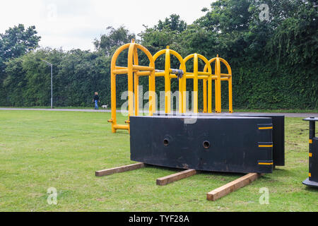 Wimbledon, London. UK . 26th June 2019.  Security barriers and metal gates are installed in Wimbledon Park  to protest visitors,  as this years Wimbledon tennis tournament  which starts on July 1 will see increased security measures . Credit: amer ghazzal/Alamy Live News - Stock Photo