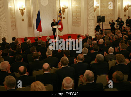 Russian President Vladimir Putin addresses the state council in the Kremlin in Moscow on February 8, 2008. President Vladimir Putin criticized the United States and NATO on Friday for military expansion toward Russia's borders and failing to respond to Moscow's security concerns. (UPI Photo/Anatoli Zhdanov) - Stock Photo