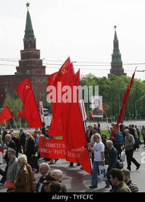 Russian communist party members and their supporters march during a traditional demonstration in central Moscow on May 1, 2008. Thousands of communists, members of Russian main political parties and opposition activists staged competing marches in Moscow and other cities Thursday marking the traditional May Day holiday. (UPI Photo/Anatoli Zhdanov) Stock Photo