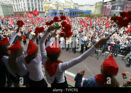 Russian communist party members and young supporters rally in central Moscow on May 1, 2008. Thousands of communists, members of Russian main political parties and opposition activists staged competing marches in Moscow and other cities Thursday marking the traditional May Day holiday. (UPI Photo/Anatoli Zhdanov) Stock Photo