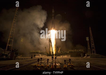 The Soyuz MS-06 spacecraft launches from the Baikonur Cosmodrome with Expedition 50 crewmembers Joe Acaba of NASA, Alexander Misurkin of Roscosmos, and Mark Vande Hei of NASA from the Baikonur Cosmodrome in Kazakhstan, September 13, 2017, (Kazakh time) (Sept. 12, U.S. time). Acaba, Misurkin, and Vande Hei will spend approximately five and half months on the International Space Station.         Photo by NASA/Bill Ingalls/UPI - Stock Photo