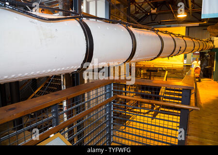 The SS Great Britains white painted main yard ( which would have been slung from the main mast of the ship ) inside The Dockyard Museum at Brunel's SS Great Britain in Bristol. UK. (109) - Stock Photo