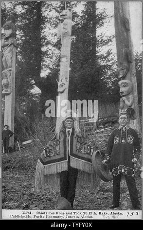 Post Card. Chiefs Tos Kine and Took to Elth, Kake, Alaska. - Stock Photo