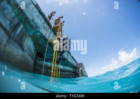 Chief Petty Officer Jesse Hamblin, assigned to Underwater Construction Team (UCT) 2's Construction Dive Detachment Bravo (CDDB), descends the diving ladder while conducting diving operations in Diego Garcia, British Indian Ocean Territory, Nov. 8, 2016.  CDDB is performing precision underwater demolition and light salvage to remove obstructions from Diego Garcia's deep draft wharf. CDDB is on the third stop of their deployment, where they are conducting inspection, maintenance, and repair of various underwater and waterfront facilities while under Commander, Task Force (CTF) 75, the primary ex - Stock Photo