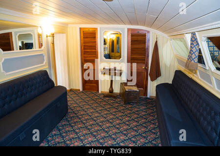 Ladies Boudoir room / rooms lounge with sofa seating for first class passengers on board the SS Great Britain. Promenade saloon deck on board the SS Great Britain. Brunel ship Brunel's ship is now a museum attraction in Bristol. UK (109) - Stock Photo