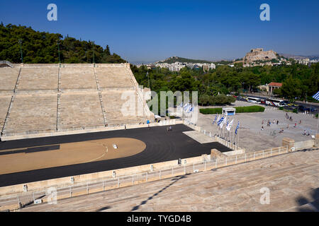 Athens Greece.The Panathenaic Stadium, site of the first modern Olympic games in 1896. The Acropolis in the background - Stock Photo