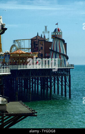 A view of the end-of-peir amusements on the Palace Pier in Brighton. - Stock Photo