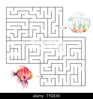 Labyrinth shape design element.Educational a mathematical game. - Stock Photo