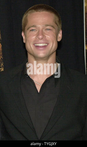 Actor Brad Pitt poses for the media at the May 10, 2004 U.S. premiere in New York of his new film 'Troy'  (UPI/Ezio Petersen) - Stock Photo