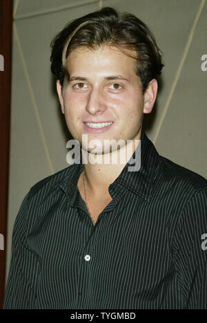 Peter Cincotti poses for pictures at the Screening of 'The Door in the Floor' at the MGM Screening Room in  New York on June 15, 2004.   (UPI Photo/Laura Cavanaugh) - Stock Photo