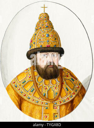 Tsar Alexis I of Russia, 1629-1676, hand coloured, portrait engraving, 1600-1899 Austrian National Library - Stock Photo