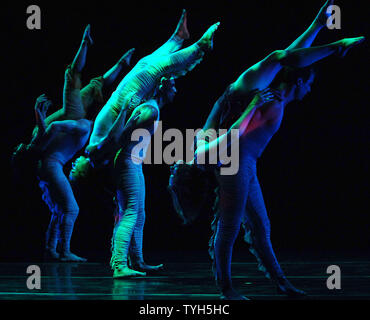 Members of the Pilobolus dance company rehearse their new ballet 'Aquatica (2005) ' which will debut on July 11, 2005 at New York's Joyce theatre.  (UPI Photo/Ezio Petersen) - Stock Photo