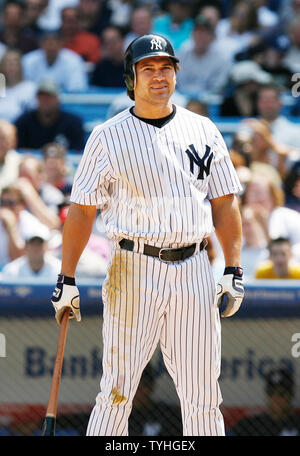 New York Yankees Johnny Damon reacts after a called strike in the bottom of the 6th inning at Yankees Stadium in New York City on May 17, 2006. The New York Yankees host the Texas Rangers.  (UPI Photo/John Angelillo) - Stock Photo