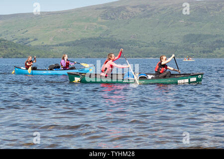 Luss, Loch Lomond, Scotland, UK. 26th June, 2019. UK weather - students from Hillpark Secondary School in Glasgow enjoying brilliant blue skies and bright sunshine this afternoon paddling on Loch Lomond for their Duke of Edinburgh silver expedition Credit: Kay Roxby/Alamy Live News - Stock Photo