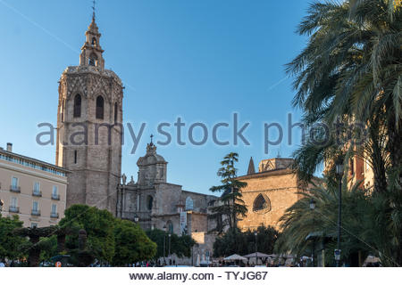 El Miguelete, or Torre del Micalet, Gothic style bell tower of the Valencia Cathedral in Valencia Spain - Stock Photo
