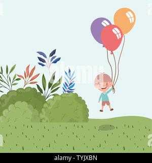 happy little boy with balloons helium in the landscape - Stock Photo