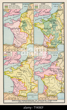 Maps of English possessions in France, 1180-1420. Color lithograph - Stock Photo