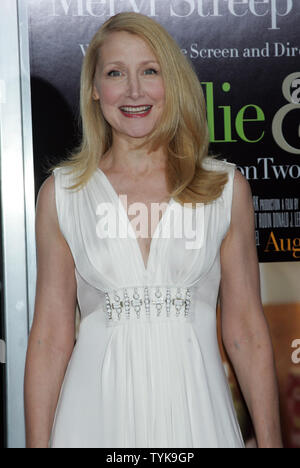 Patricia Clarkson arrives for the premiere of 'Julie & Julia' at the Ziegfeld Theatre in New York on July 30, 2009.   (UPI Photo/Laura Cavanaugh) - Stock Photo