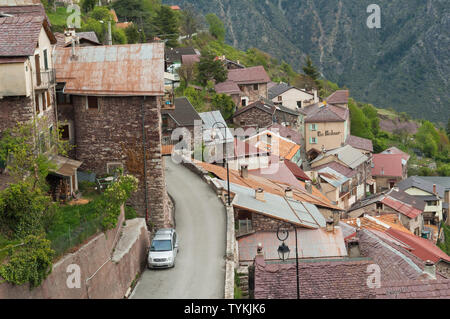 The village of Roure on the edge of the Mercantour National Park - Provence, France. - Stock Photo