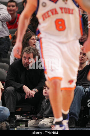 President & Chief Executive Officer of the New York Knicks James Dolan watches the final minutes of the game against the New Jersey Nets at Madison Square Garden in New York City on March 6, 2010. The Nets defeated the Knicks 113-93.      UPI/John Angelillo - Stock Photo
