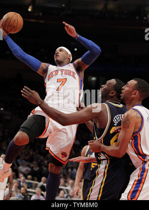 New York Knicks Carmelo Anthony drives to the basket in the first half against the Utah Jazz at Madison Square Garden in New York City on March 7, 2011.   UPI/John Angelillo - Stock Photo