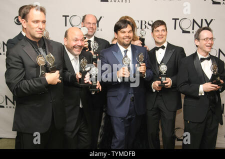 Producers of the play 'The Book of Mormons' pose with all their awards after winning the Best Musical category during the 65th Annual Tony Awards at the Beacon Theatre on June 12, 2011 in New York City.     UPI/Monika Graff. - Stock Photo
