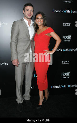 Mila Kunis and Justin Timberlake arrive for the 'Friends With Benefits' Premiere at the Ziegfeld Theater in New York on July 18, 2011.       UPI /Laura Cavanaugh - Stock Photo
