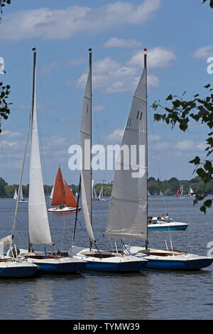sailing school, Outer Alster, Hamburg, Germany - Stock Photo