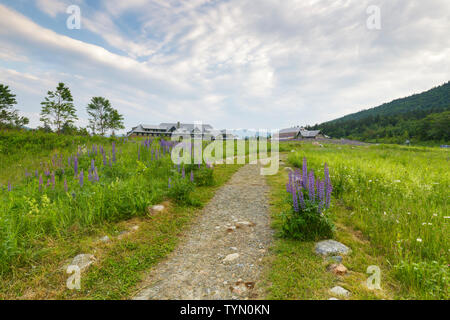 The Appalachian Mountain Club's Highland Center located at the start of Crawford Notch in the White Mountains, New Hampshire USA. - Stock Photo