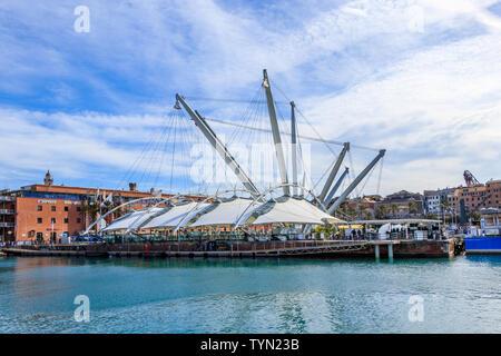 GENOA, ITALY - MARCH 9, 2019: View of ancient harbor area of Genoa, Italy - Stock Photo