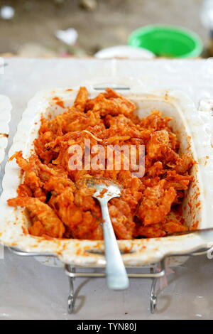 Fried breaded shrimp with Spicy sauces on the buffet - Stock Photo