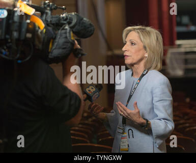 Miami, Florida, USA. 26th June, 2019. NBC News Chief Foreign Affairs Correspondent ANDREA MITCHELL is interviewed in the press filing center at the NBC News Democratic Debate, the first candidates' debate of the 2020 presidential election season. With 20 candidates having qualified for the debate, the event is being run on two consecutive nights, with 10 candidates sharing the stage each night. Credit: Brian Cahn/ZUMA Wire/Alamy Live News - Stock Photo