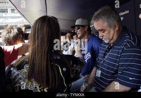 Los Angeles Dodgers manager Don Mattingly speaks to reporters before the game against the New York Yankees at Yankee Stadium in New York City on June 19, 2013.     UPI/John Angelillo - Stock Photo