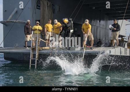 A U.S. Army engineer diver with the 511th Engineer Dive Detachment from Fort Eustis, Va., jumps off the MG Charles P. Gross (Logistics Support Vessel-5) and into the Arabian Gulf, off the coast of Kuwait Naval Base, to practice diving procedures Nov. 18, 2016. The two week training exercise, Operation Deep Blue, required Army divers to practice their diving procedures and react to underwater emergency scenarios. - Stock Photo