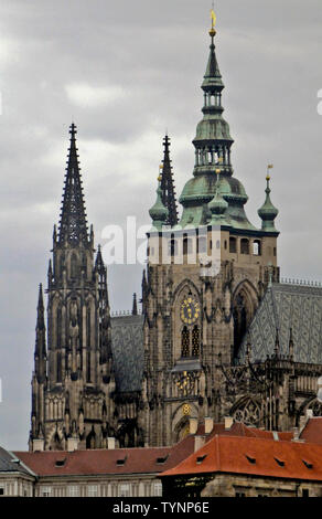 St. Vitus Cathedral, located in the Prague Castle, Czech Republic - Stock Photo