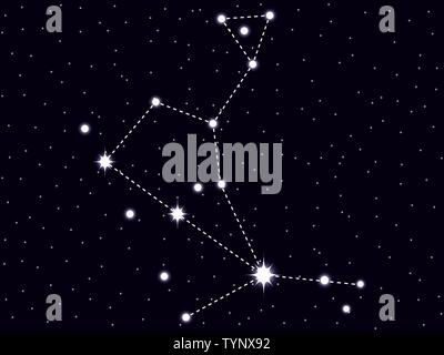 Bootes constellation. Starry night sky. Vector illustration - Stock Photo