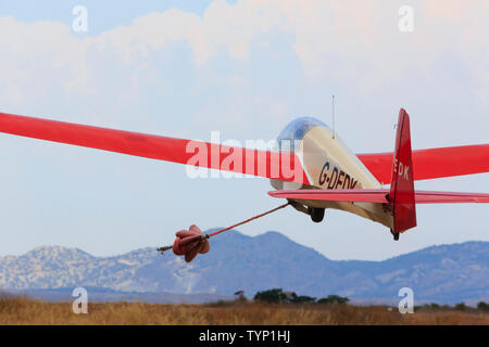 Glider ASK7m, G-DEDK launching from the airstrip at Mammari, Nicosia, Cyprus June 2019 - Stock Photo