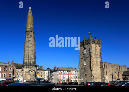 Market Square and Obelisk, Richmond town; North Yorkshire; England; UK - Stock Photo