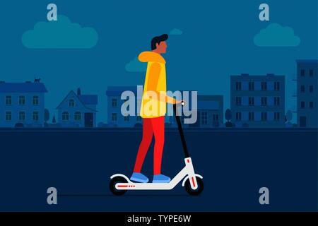 Young male character riding modern urban transportation electric kick scooter. Active hipster adult millennial lifestyle ecology technologies. Flat ve - Stock Photo