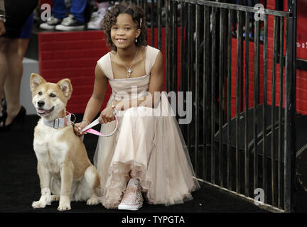 Quvenzhane Wallis arrives on the red carpet at the 'Annie' World Premiere at the Ziegfeld Theater  in New York City on December 7, 2014.    UPI/John Angelillo - Stock Photo