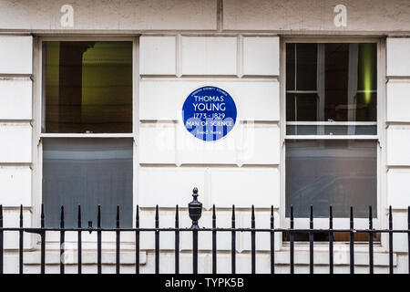 Thomas Young 1773-1829 Scientlist  and Polymath lived at 48 Welbeck Street. London County Council Blue Plaque. Established the wave theory of light. - Stock Photo