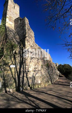 The Walls around Richmond Castle, Richmond town, North Yorkshire, England, UK - Stock Photo