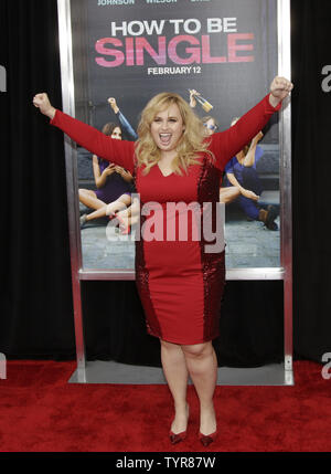 Rebel Wilson arrives on the red carpet at the New York Premiere of How To Be Single at the NYU Skirball Center on February 3, 2016 in New York City.    Photo by John Angelillo/UPI - Stock Photo